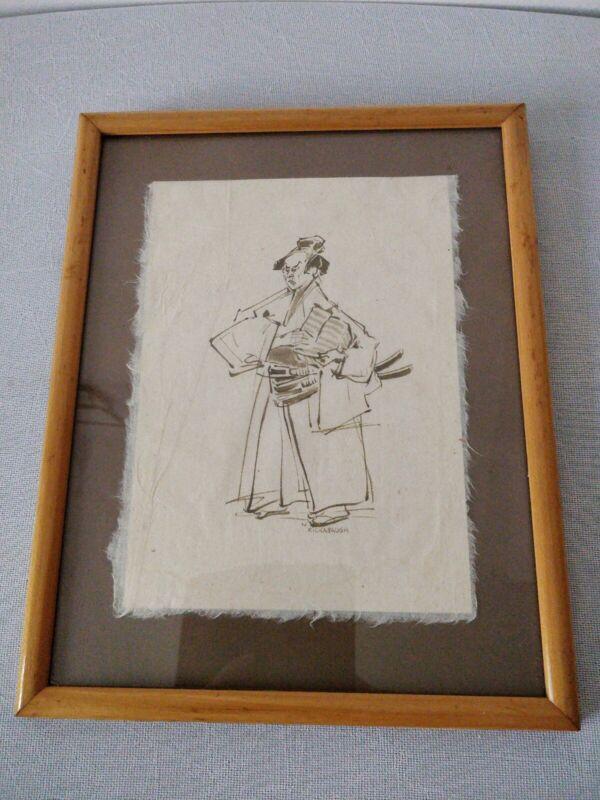 Samurai Painting Sword Bushido Katana Martial Arts Original Ink  Framed Signed