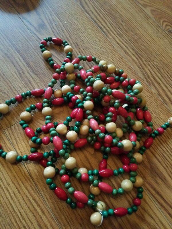 Christmas Beads Red Green Wood Garland