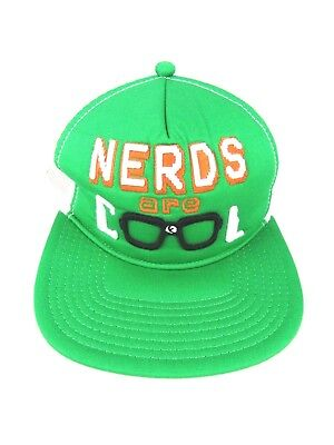 80d89f9070a0c Varsity Slackers Nerds are Cool Snapback Trucker Hat Green and White Mesh  Cap