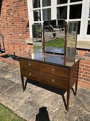 antique dressing table with mirror, mirrored dressing table, mahogany & drawers