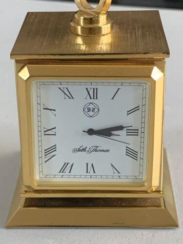 SETH THOMAS SOLID BRASS QUARTZ PHOTO FRAME & CLOCK, 22 YRS. OLD, WORKS GREAT.