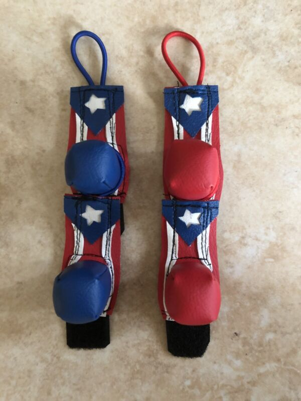 Spur Gloves/Protective Vinyl Breeding Muffs for Poultry/Gallos w/ PR Flag