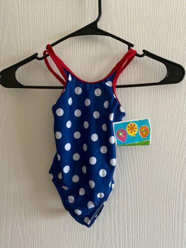 Toddler Girls Bunz Kids 1 PC Swimsuit Bathing Suit 4T New Blue Polka Dots