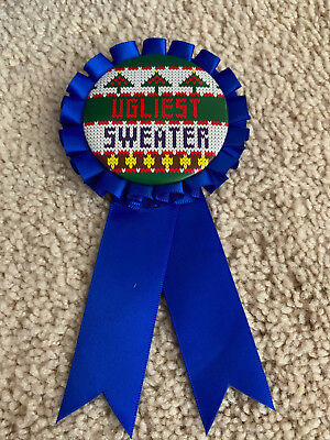 UGLIEST SWEATER Blue Award Ribbon Medal UGLY SWEATER CONTEST, Christmas Party for sale  Longmont