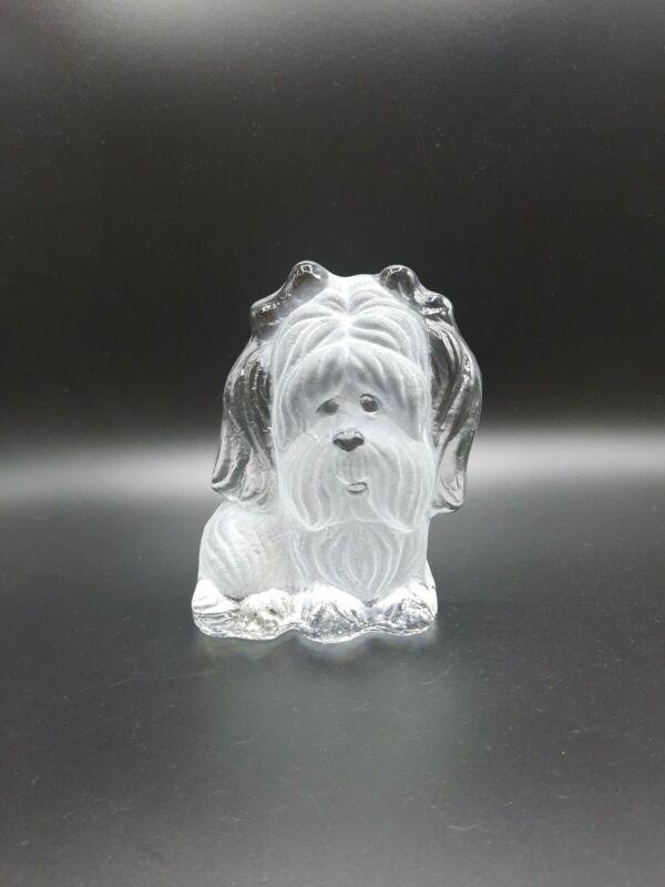 Vintage Viking Glass Yorkie Shih Tzu Dog Frosted Glass Bookend Figurine
