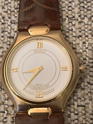 Vintage Paolo Gucci unisex watch brown leather extremely rare
