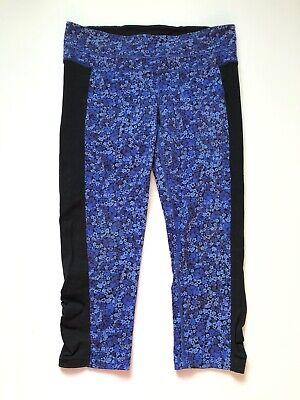 Women Athleta Blue Patterned Athletic Crop Capri Pants Yoga Workout Medium