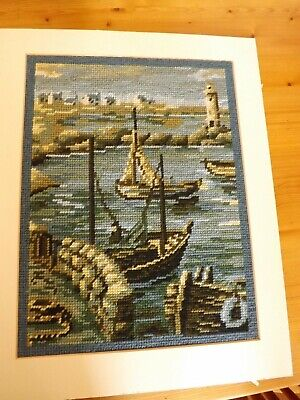 Harbour & Fishing Boats Completed Wool Tapestry Marine Bretonne by Margot