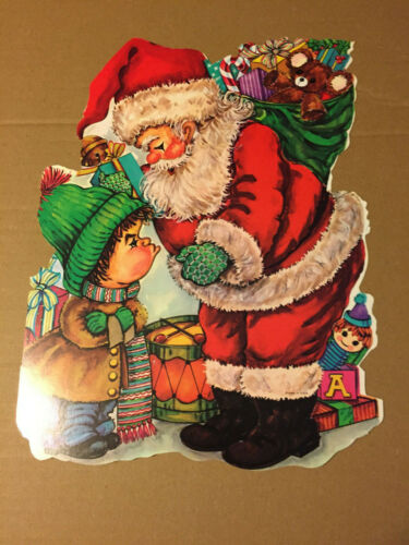 """VINTAGE CHRISTMAS EUREKA SANTA AND BOY DIE CUT 13"""" X 9.5"""" NOS"""