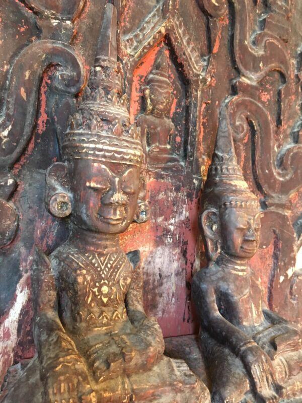 Antique Burmese Buddha Statue Wood -Gautama and Maitreya