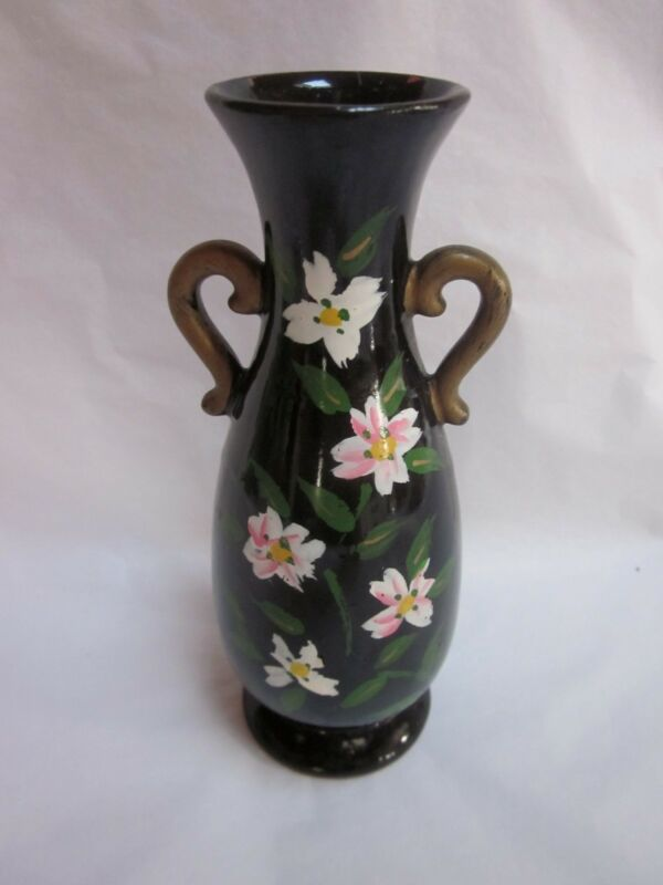 Black Hand Painted Vase with Flowers No Maker's Mark 6.5 inches tall