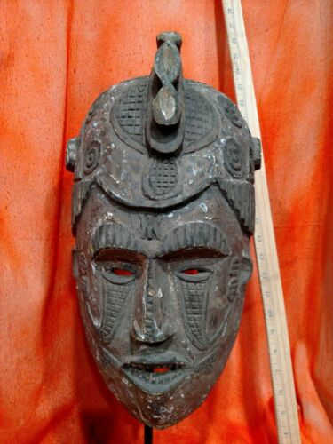 Igbo Maiden Spirit Helmet — Great Carved Details — Authentic Wood African Art