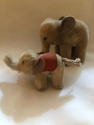 "2 Vintage Steiff Elephants Stuffed Animals Saddle 3"" & 5"" Pair Toy"