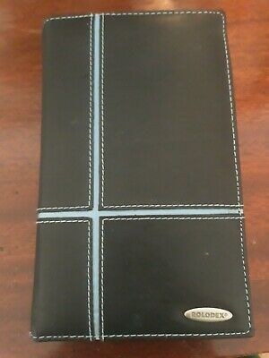 Rolodex Organizer Businesscredit Card Holder Black Leather 36 Slots.