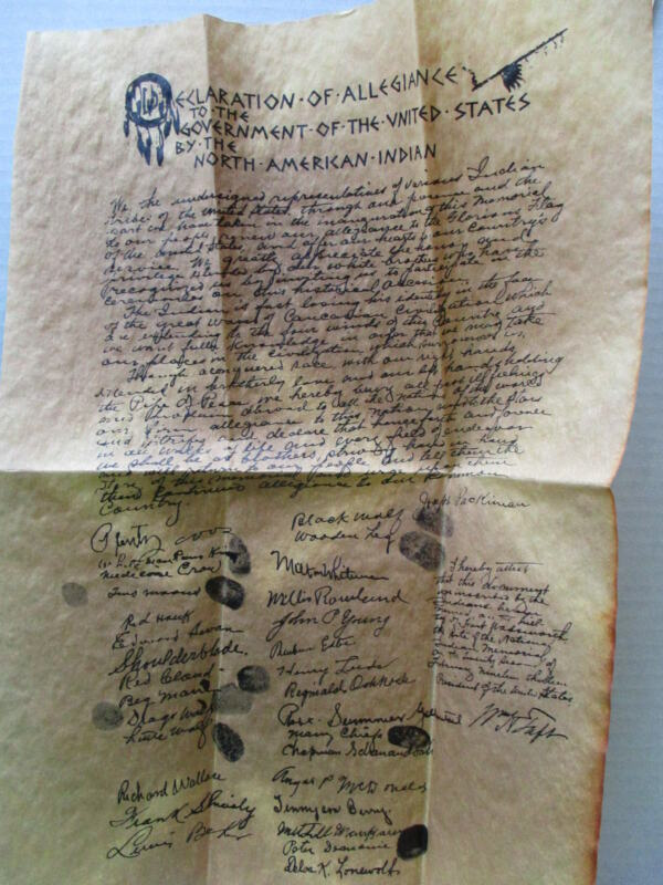 Vintage INDIAN OATH OF ALLEGIANCE on parchment paper with envelope