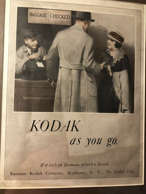 1920's  Original Antique Vintage Kodak Print Ad W/Certificate If Authenticity
