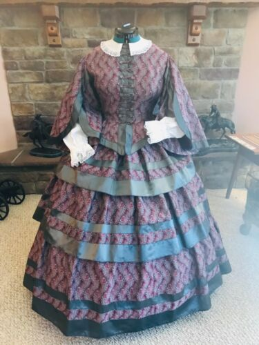 4 Piece Civil War Dress Gown Parasol Victorian SASS Re-enactment Theater Costume