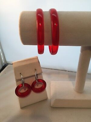 Translucent Red  Vintage Lucite Bangle Bracelets Matching Hoop Earrings   1960
