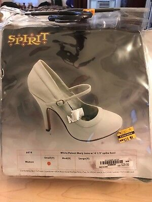 SPIRIT HALLOWEEN White Patent Mary Jane Shoes with 4 1/2 IN Heel 7 NEW WITH TAGS