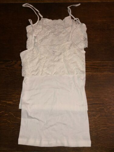 Lot of 2 Hanro White Camisole Tank Top Mercerized Cotton Wide Lace Trim XS NWOT