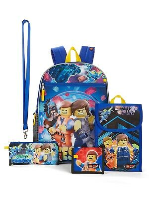 Lego Movie Boys 5 piece Backpack Snack Bag School Book Bag wallet Lunch Case Toy - Lego Snacks