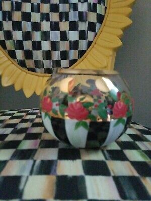 Mackenzie Childs Courtly Check Circus Rose Glass Bowl