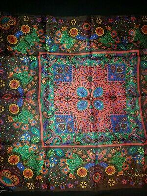 Vintage Scarf Styles -1920s to 1960s Vintage Silk Scarf Signed Leo Narducci Square Rolled Hem Brown Print Fabric $14.99 AT vintagedancer.com