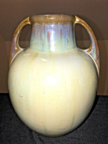 Antique Fulper 2 Handled  Mottled Glaze Vase Incised Racetrack Mark