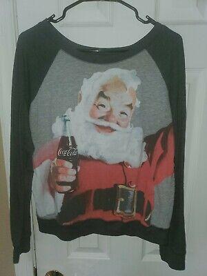Coca-Cola Vintage Santa Claus Womens T-Shirt Large Christmas 3/4 Sleeve