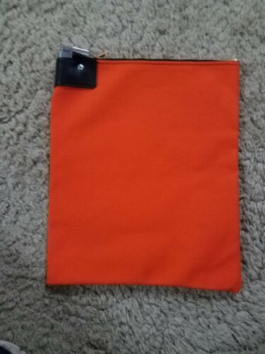 1 Orange Canvas Locking Bank Deposit Bag with Deluxe Pop Up Lock and 2 Keys