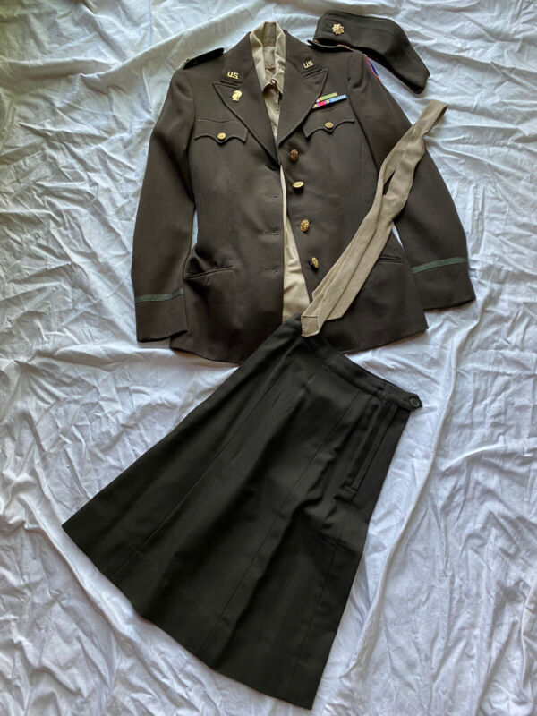 Original Wwii Womans Army Corp WAAC Officer Major Uniform Grouping Named