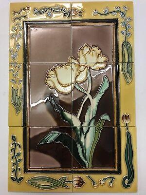 Beautiful Tubelined Tile Backsplash Mural Handmade 18x12 LILY Splashback