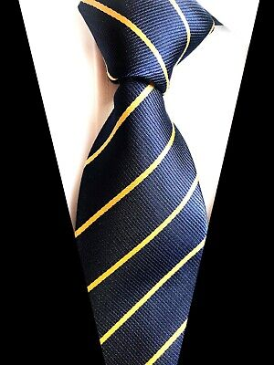 BEST 2019 striped blue Yellow JACQUARD WOVEN 100% Silk Men's Tie Necktie