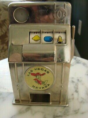 - Working Vintage Las Vegas Nevada Metal Toy Coin Slot Machine Jackpot Bank