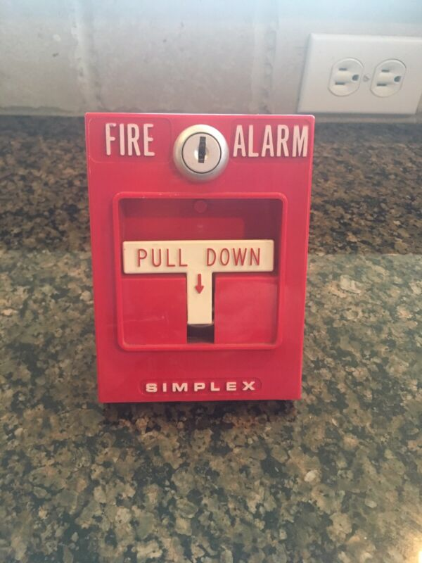 *Vintage**Rare* Simplex Fire Alarm Pull Station Model 4251-20 Red Single Action