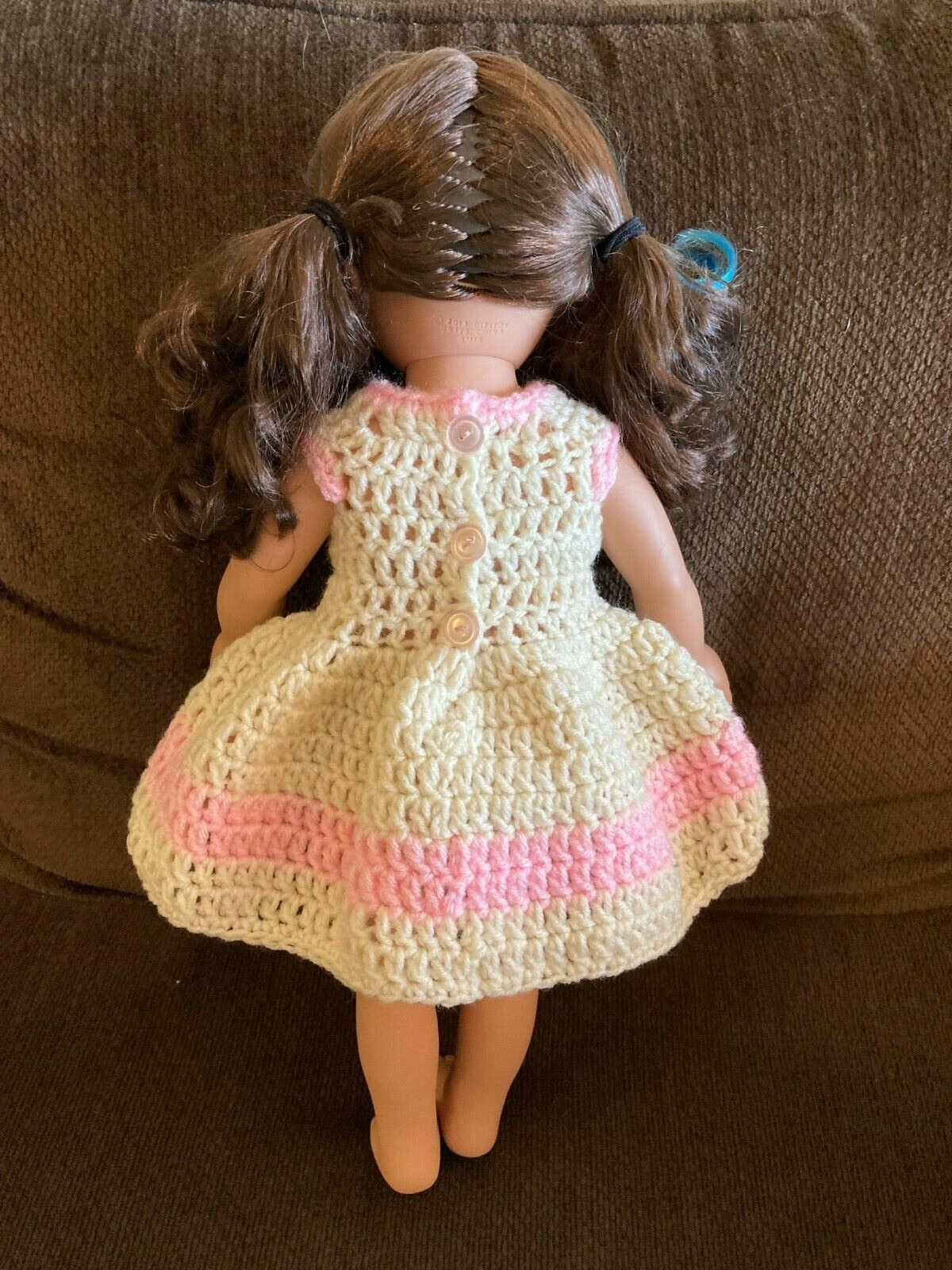 Handmade Crochet Off White And Pink Doll Dress For 18 Dolls - $5.00