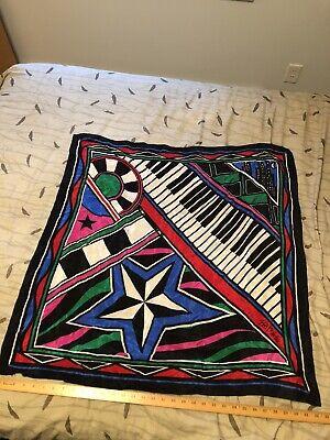 "Vintage Scarf Styles -1920s to 1960s Vintage Bob Mackie Broadway Piano Keys 100% Silk Scarf 32"" X 32"" Cityscape $9.99 AT vintagedancer.com"