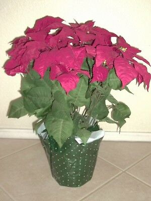 "Large 22"" Artificial Potted Red Poinsettia Plant Christmas Holiday 14 Flowers"