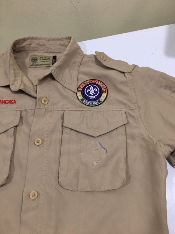 Boy Scout Youth L Short Sleeve Uniform Shirt Polyester Microfiber Vented H006