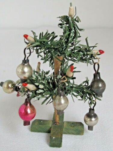 """Antique Miniature Doll House Christmas Tree w/  Candles and Ornaments 3 3/4"""""""