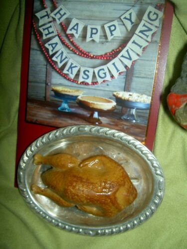 Antique miniature, German Roast Turkey Candy Container on silver serving platter