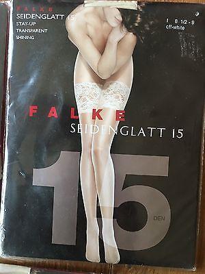 FALKE Seidenglatt 15 Den Stay-Up Transparent Shining 8 1/2 -9 White 2059 $28