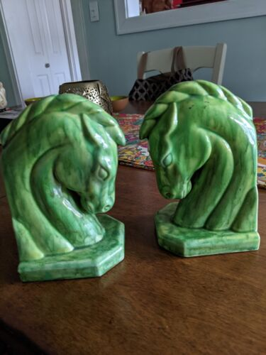 set of WOW green DRIP GLAZE mcm midcentury horse bookends circa 1970