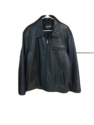 Men's Black Leather Jacket XL Guess With Quilted Lining; Rather Heavy Jacket