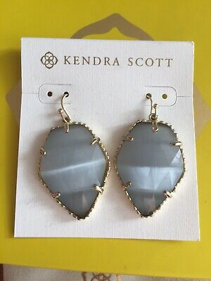 New Kendra Scott Silver Slate Eye Gray Earrings Gold Gorgeous With Bag And Box