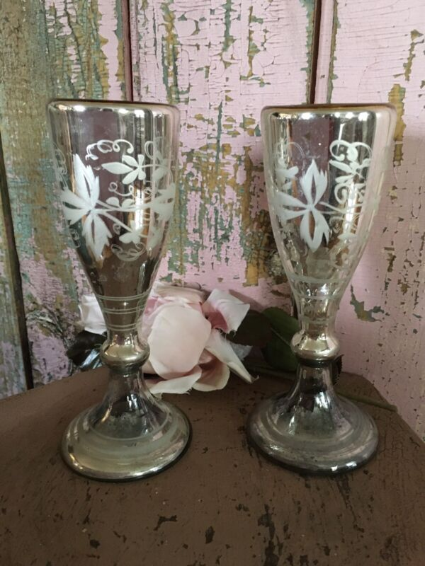 Pair Of Antique Victorian Mercury Glass Vases Floral Pattern #3