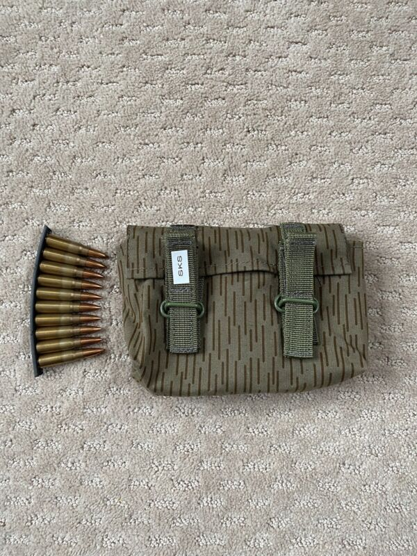 SKS STRIPPER CLIP AMMO POUCH 7.62X39 HOLDS 6 OR 9, 10rd Clips. German Pouch NEW