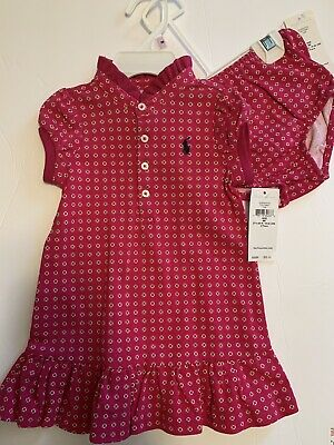 NWT Baby Girl Ralph Lauren Pink Dress With Bloomies-size 9months