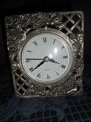 VINTAGE Quartz Mantel Desk Clock PEWTER? ROSE DESIGN WORKS EUC