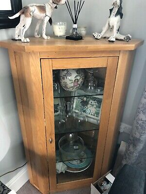 Solid Oak And Glass Corner Cupboard, used for sale  York